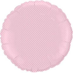 Balao-Metalizado-redondo-rosa-Bolinha-Branca