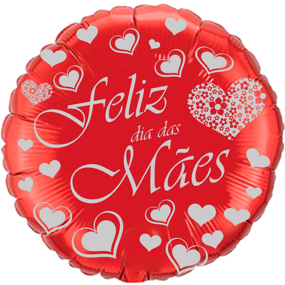 Balão Metalizado Feliz Dia das Mães Redondo Vermelho - Flexmetal 09 ´ ( Aprox. 22 cm )