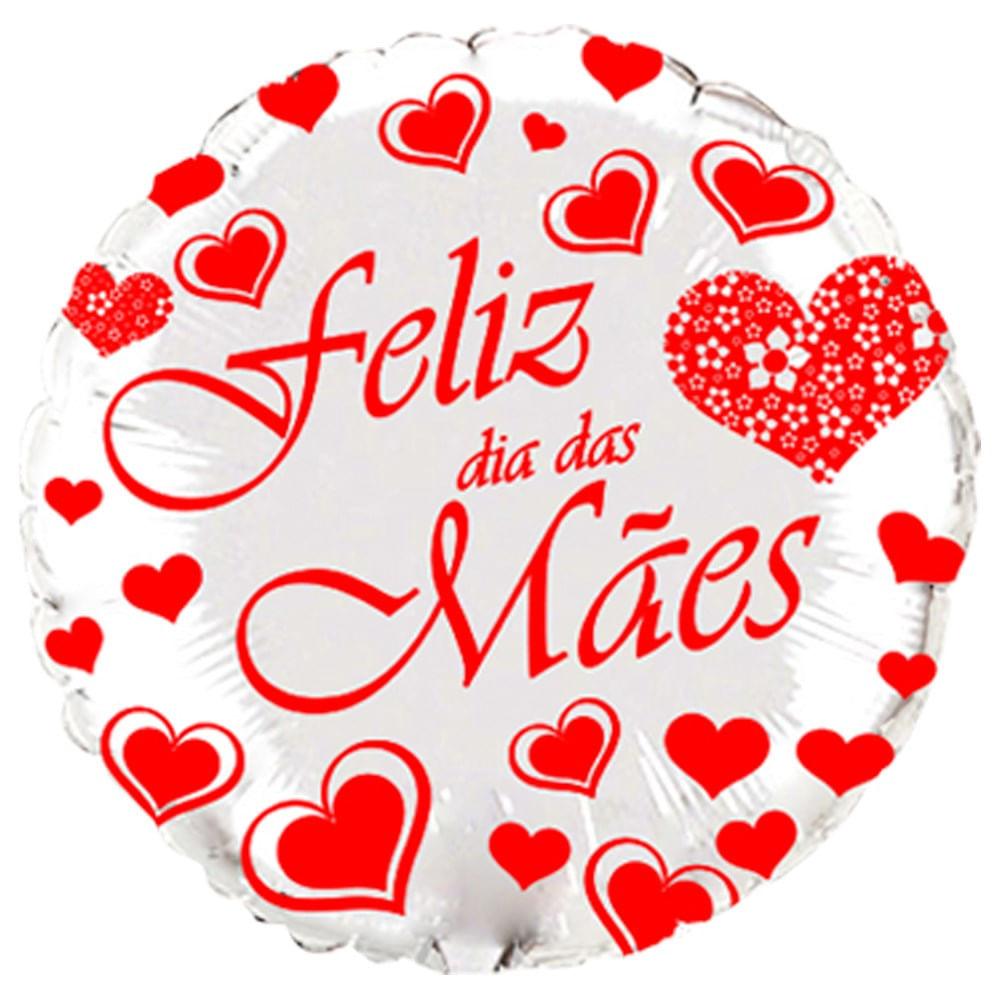 Balão Metalizado Feliz Dia das Mães Redondo Prata - Flexmetal 20 ´ ( Aprox. 50 cm )