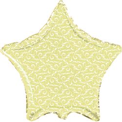 Balão-Metalizado-Estrela-Amarela-Arabescos-Flexmetal