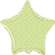 Balão-Metalizado-Esrela-Verde-Arabescos-Flexmetal